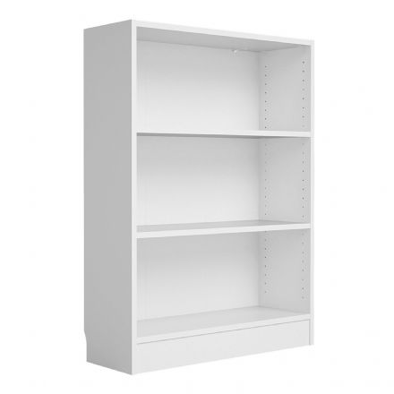 Low Wide Bookcase (2 Shelves) in White
